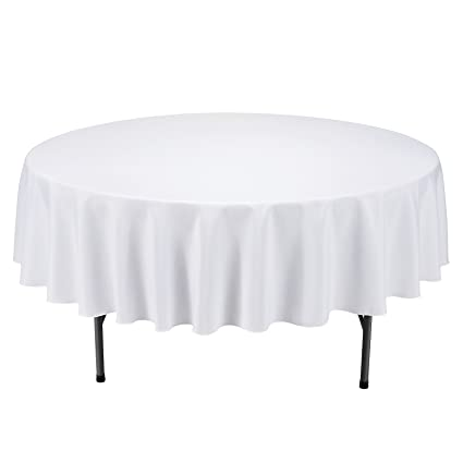Round Table With Tablecloth.Veeyoo Round Tablecloth 90 Inch Solid Polyester Circular Table Cover For Wedding Restaurant Party Kitchen Home Dining White Table Cloth