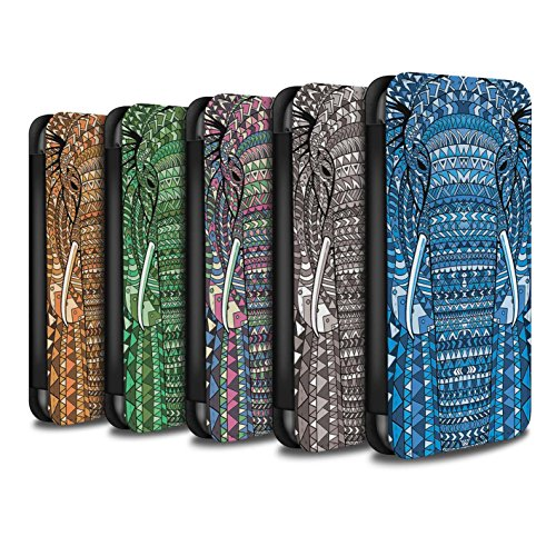 Stuff4 Coque/Etui/Housse Cuir PU Case/Cover pour Apple iPhone 5C / éléphant-8 Pack Design / Motif Animaux Aztec Collection