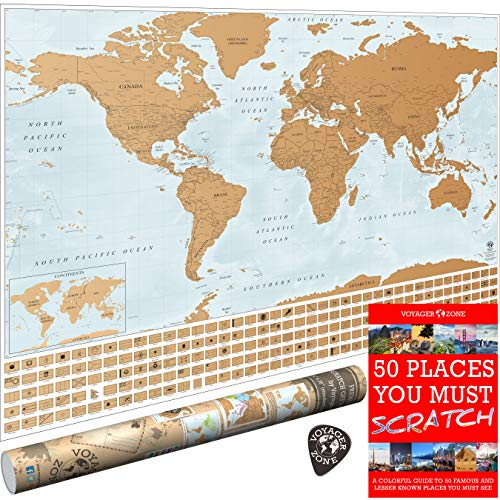 (Scratch Off World Map by Voyager Zone - Made in USA - 24x36 Extra Large Size Wall Poster - High Detail Cartography - Premium Spot On Gold Scratch Layer - Scratch-Off Tool and Travel E-Book)