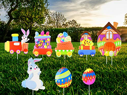 Unomor 8 Pack Easter Outdoor Decorations Easter Yard Signs with Easter Eggs, Bunny, Chick for Easter Yard Lawn Decorations with 11 Stakes