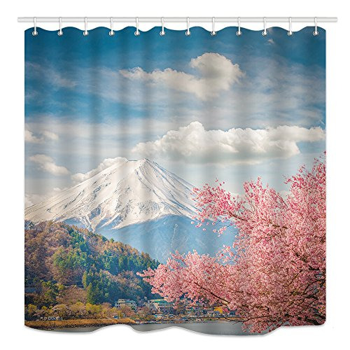 DYNH Natural Scenery Shower Curtain, Mount Fuji Mountain Range and Sakura at Kawaguchiko in Japan, Mildew Resistant Fabric Bathroom Decor, Bath Curtains Accessories, with Hooks, 69X70 Inches