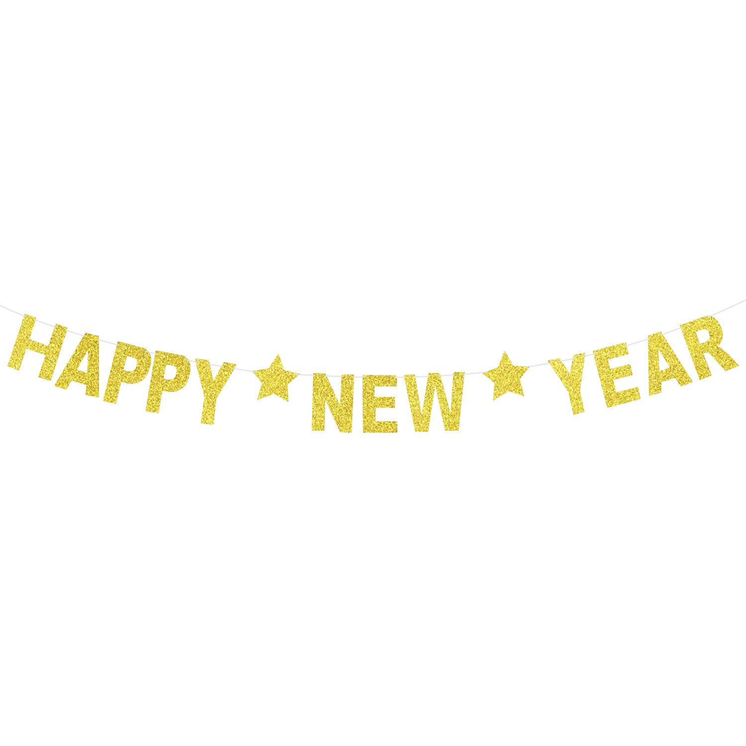New Years Eve Party Supplies 2019 Happy New Year Glitter Banner Real Glitter Star NYE Banner Gold Paper Glitter Hanging Banner Sign New Year Decorations No DIY Required KatchOn NYE Decorations 2019