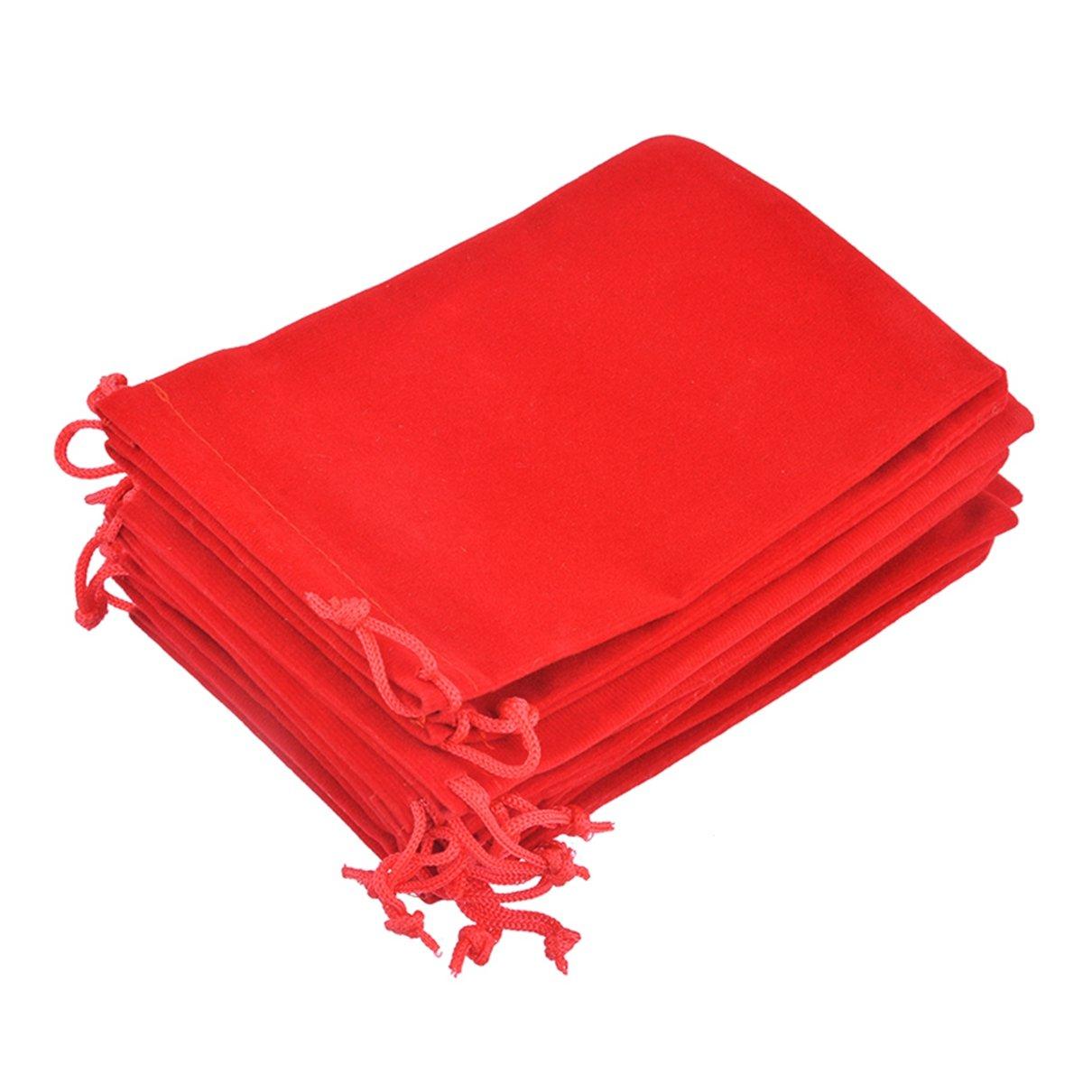 HooAMI Red Velvet Drawstring Pouches Jewelry Gift Bags 10pcs, 15x10cm