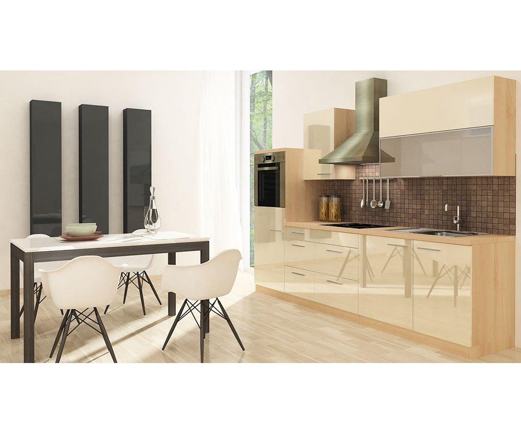 respekta Küchenleerblock Hochbau 280 cm Akazie Vanille Hochglanz APL Akazie