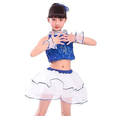 e707c03e0592 BOZEVON Children Modern Dance Latin Dance Costume Girls Chiffon ...