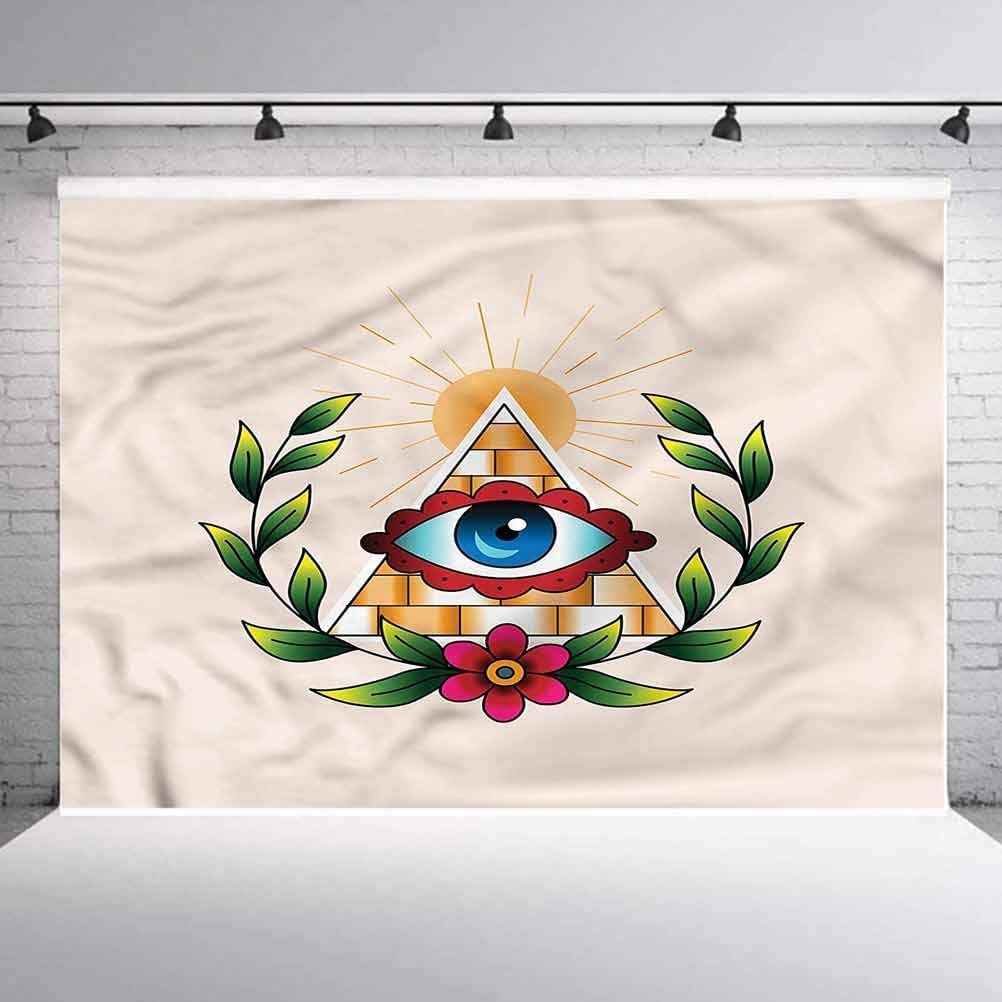 6x6FT Vinyl Photography Backdrop,Eye,Esoteric Colorful Abstract Photo Background for Photo Booth Studio Props