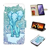 Galaxy A8 Plus Case, UrSpeedtekLive Galaxy A8+ Wallet Case Folio Flip Premium PU Leather Case Cover with Card Holder Slot Pockets, Wrist Strap, Magnetic Closure for Samsung Galaxy A8 Plus,Elephant