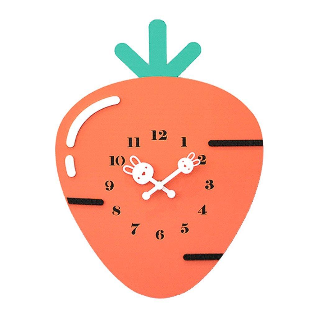 Unbekannt Wanduhr für Kinder Stille Karotte Form Orange Wanddekoration Kinderzimmer Kindergarten Schlafzimmer Cartoon Schöne Haushalt Moderne Nordic Style Einfache Mode Persönlichkeit UOMUN