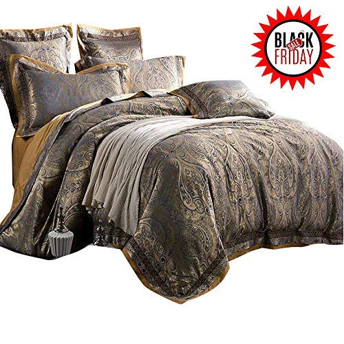 AMWAN Luxury Paisley Duvet Cover Set King Vintage Floral Jacquard Bedding Set European Style Sateen Cotton Duvet Comforter Cover Set 3 Piece Wedding Bedding Collection King Bed Home Textile Set (Jacquard Bedding King)
