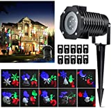Penton Holiday Decoration Rotating Projection Led Lights Snowflake Spotlight, 10PCS Pattern Lens Christmas Led Projector Light Show Waterproof for Landscape, Wall, Multicolor