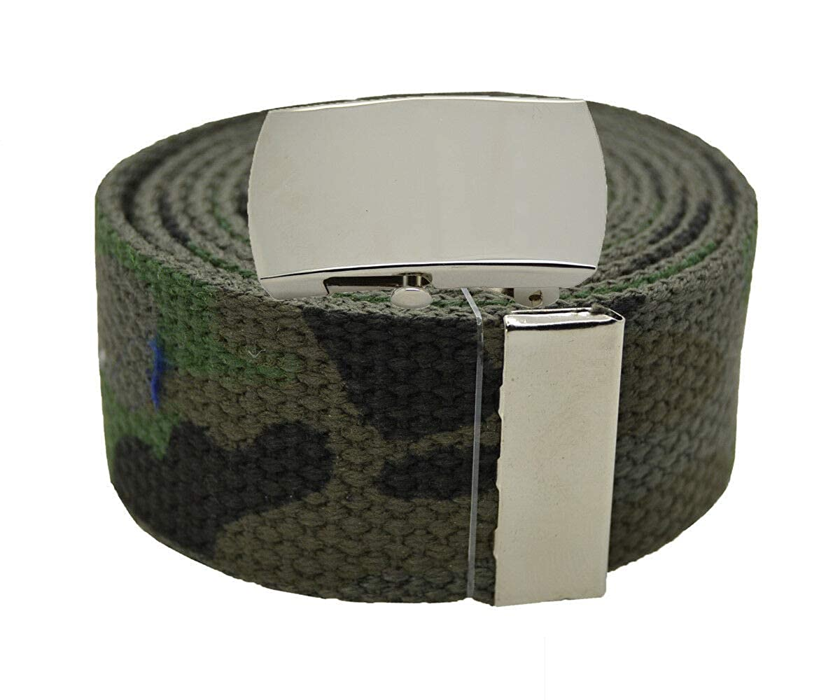 CAMOUFLAGE #AAAS Top Quality Canvas Military Web Belt /& BIGPlain Silver Buckle 54