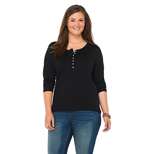 Plus Size Long Sleeve Henley Top Black X-Mossimo Supply Co. 15599857 ... d6438ffca