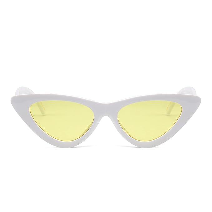 ffb522c40c JM Gafas de Sol Retro Ojos de Gato Clout Goggles Lentes Lindos Plásticos  Teñido Anteojos Mujer
