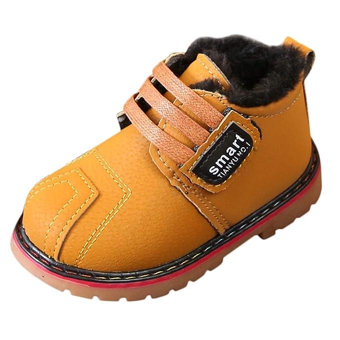 YanHoo Zapatos para niños Letras Infantiles más Botas de Terciopelo Gruesas Botas de Nieve Botas de Botas de algodón Chicos Calzado de Invierno Botas de ...