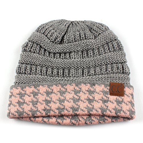 Ribbed Stretch Knit (Hatsandscarf CC Exclusives Cable Knit Soft Stretch Houndstooth Ribbed Beanie Hat (HAT-12) (Lt. Mel Grey/Indi Pink))