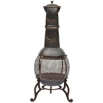 Chimenea de acero negro envejecido oro Fire Pit barbacoa de jardín al aire libre Patio calentador