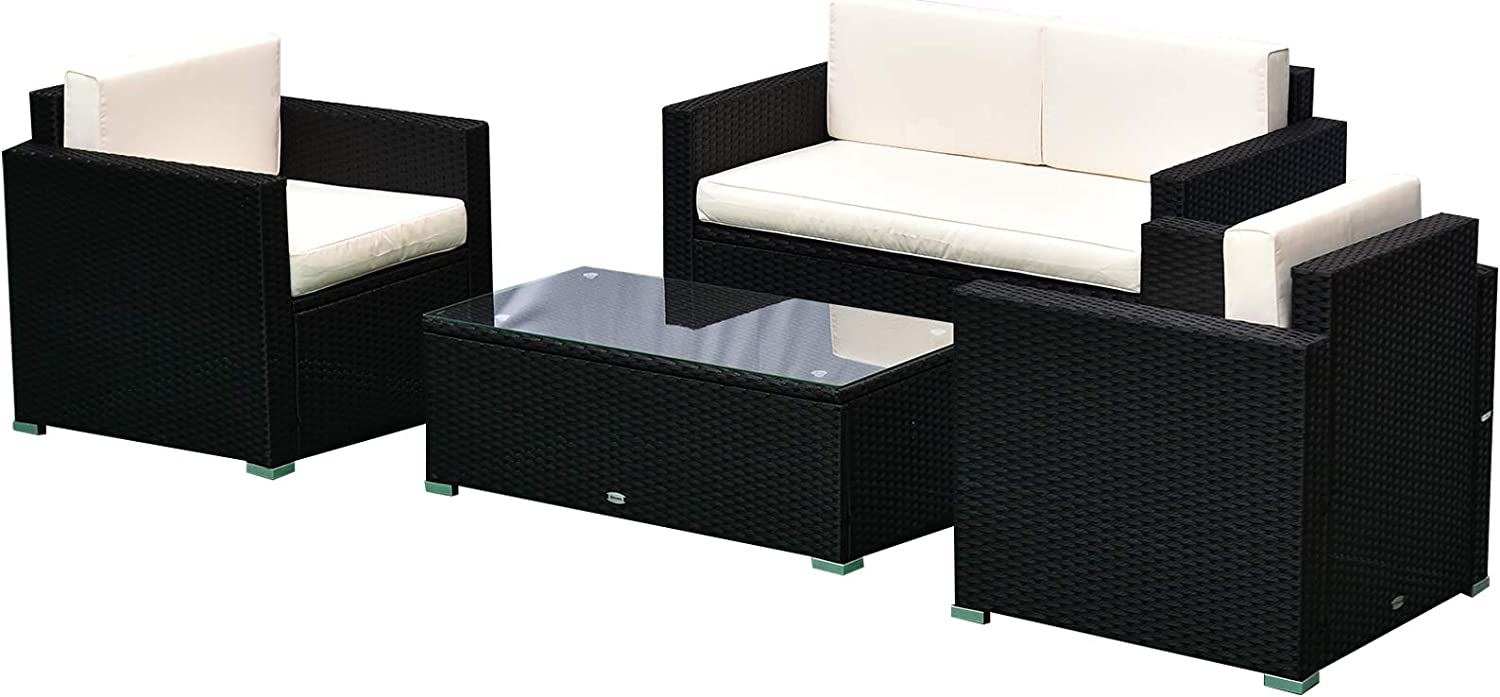 Amazon Com Outsunny 4 Piece Cushioned Patio Furniture Set With 2 Chairs Sectional And Glass Coffee Table Rattan Wicker Black Garden Outdoor