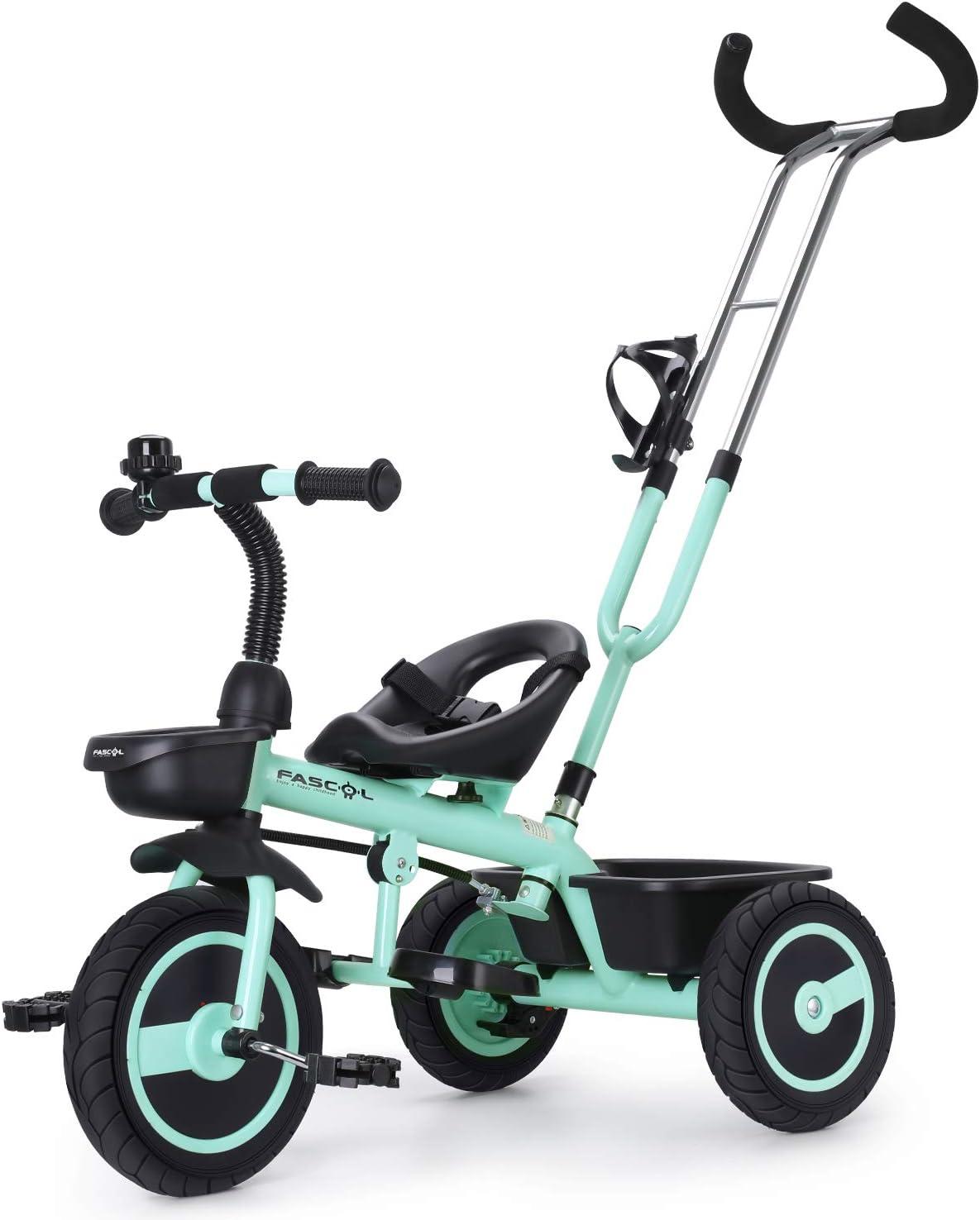Fascol Triciclo Bebé con Barra Telescópica Extraíble Smart Bicicleta para Niños, Asiento Ajustable , Ruedas de Gomas y Conducción Silenciosa, 18 Meses - 5 Años,hasta 30KG (Verde)