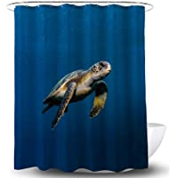 Smart Decor Mysterious Sea Turtle Shower Curtain with 12 Hooks, 72