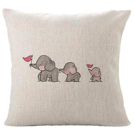 Fundas de cojín, TWBB CojíN De Almohada De La DecoracióN del Hogar De Tres Elefantes del Bebé Cojines De Almohada Lindos De Los Animales: Amazon.es: Hogar