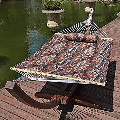 Lazy Daze Hammocks Quilted Fabric Double Size Spreader Bar Heavy Duty Stylish Hammock Swing with Pillow for Two Person (Camouflage) - 【SUPER COMFY】The double-layered quilted polyester with inner polyester padding and a polyethylene stuffing head pillow offer superior comfort. No matter it's in summer or winter, this hammock will always be your first choice for relaxation. 【SUPER DURABILITY】Handcrafted polyester ropes add character and authenticity, and thickness of the end cords contribute greatly to the balance and strength of the hammock. Lay in the hammock with no concern ever. 【SUPER LOOK】55 inches durable Hardwood spreader bar with powder coated in an oil rubbed finish protects from rot, mold or mildew, making it more stable and stylish as well as maximizing style. Believe in us, whoever sees this hammock will envy you. - patio-furniture, patio, hammocks - 618%2BtpEDB6L. SS400  -