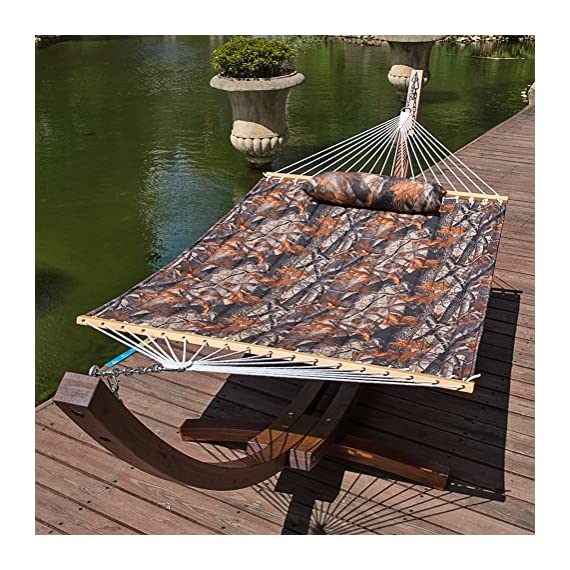 Lazy Daze Hammocks Quilted Fabric Double Size Spreader Bar Heavy Duty Stylish Hammock Swing with Pillow for Two Person (Camouflage) - 【SUPER COMFY】The double-layered quilted polyester with inner polyester padding and a polyethylene stuffing head pillow offer superior comfort. No matter it's in summer or winter, this hammock will always be your first choice for relaxation. 【SUPER DURABILITY】Handcrafted polyester ropes add character and authenticity, and thickness of the end cords contribute greatly to the balance and strength of the hammock. Lay in the hammock with no concern ever. 【SUPER LOOK】55 inches durable Hardwood spreader bar with powder coated in an oil rubbed finish protects from rot, mold or mildew, making it more stable and stylish as well as maximizing style. Believe in us, whoever sees this hammock will envy you. - patio-furniture, patio, hammocks - 618%2BtpEDB6L. SS570  -