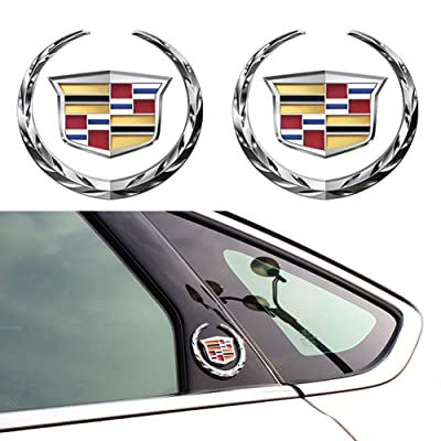 For 2pcs Cadillac Emblem 6cm, Silver Grille Wreath & Crest 3D Logo Symbol Stickers Metal Decals for Cadillac Escalade ATS SRX XTS CTS XT5 XLR: Automotive