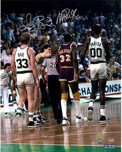 NBA Los Angeles Lakers Magic Johnson/Larry Bird Dual Signed On Court with Robert Parish 16X20 Photo