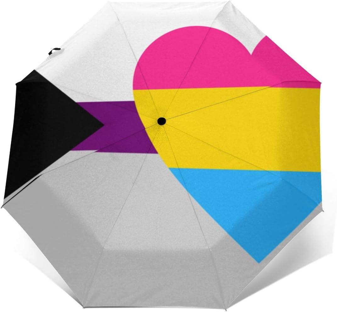 Demisexual Panromantic Pride Flag Automatic Tri-Fold Umbrella Parasol Sun Umbrella Sunshade