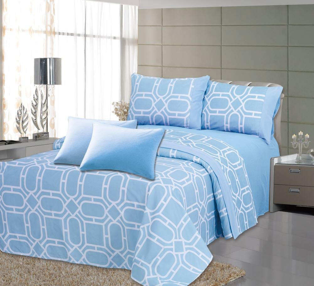 Royal Bamboo 6 Piece Eco Friendly Soft & Double Polished, Wrinkle Free, Sky Blue Geometric Design 125 GSM Sheet Set, (2 Extra Pillow Case) Queen Size