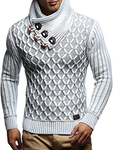 (Leif Nelson Men's Knitted Pullover | Long-sleeved with geometric pattern | Winter pullover with shawl collar for Men)