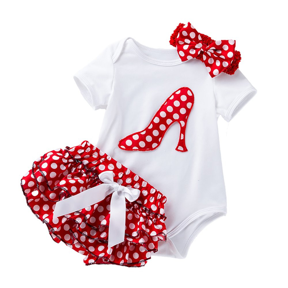 Liyukee Baby Girl 3 Piezas de Ropa Conjunto Vestido de Verano Tutu Mameluco Mameluco Mono de Manga Corta con Diadema Bowknot Trajes