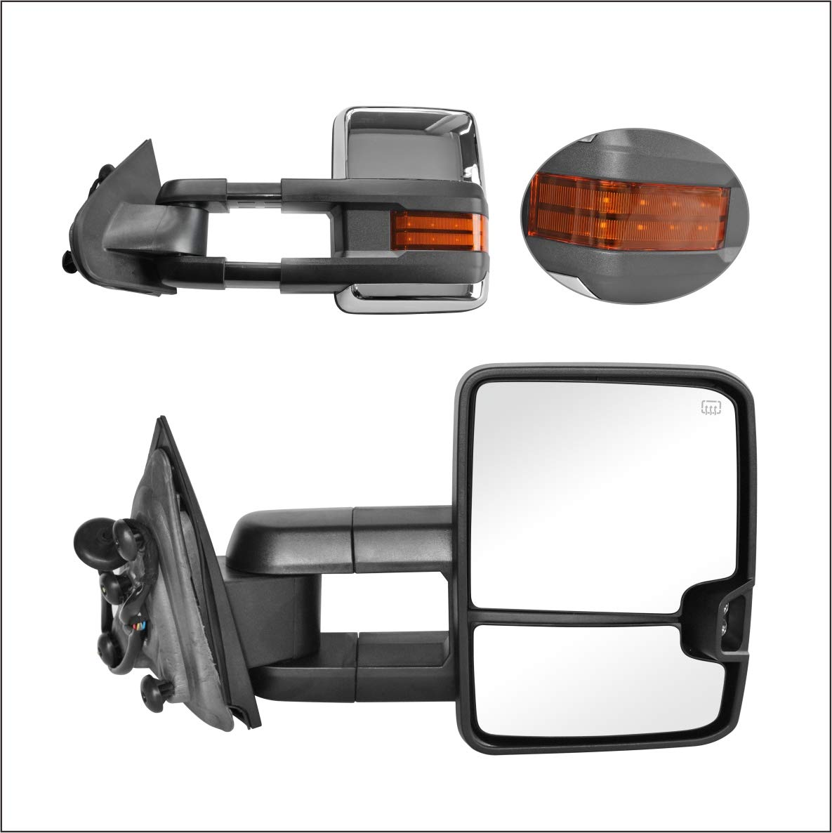 PAIR SET Perfit Zone Towing Mirrors Replacement Fit 2014-2017 for SILVERADO//GMC SIERRA POWER HEATED,W//AMBER SIGNAL,CHROME