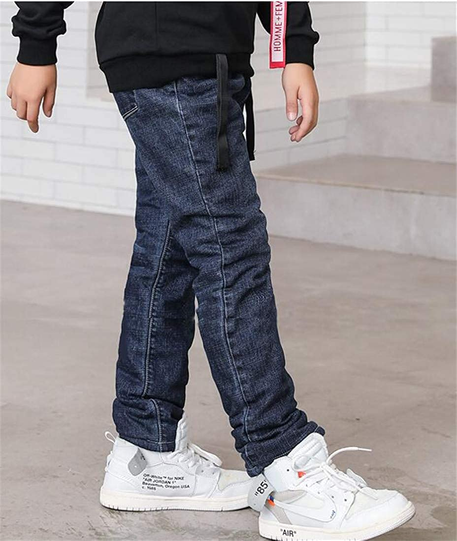 pipigo Boys Fleece Thicken Cute Jeans Denim Basic Slim Fit Pants