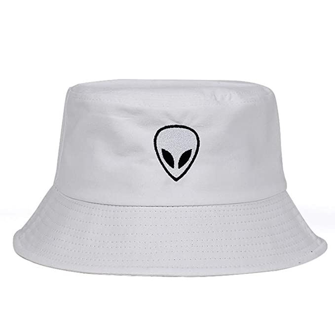 aea77e1ceb0e4 Black White Solid Alien Bucket Hat Unisex Bob Caps Hip Hop Summer Panama  Cap Beach Sun Fishing Hats at Amazon Women's Clothing store: