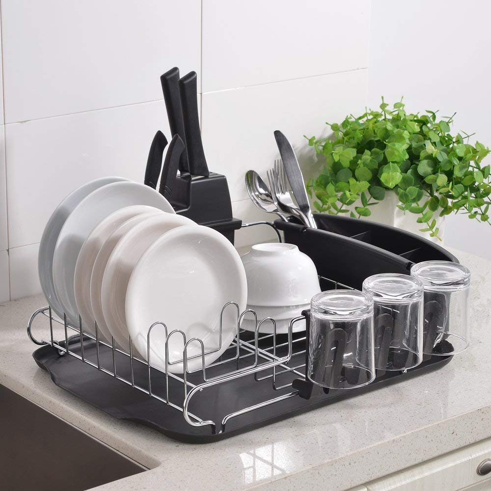 Details about Rust Proof Kitchen Draining Dish Drying Rack Dish Rack With  Black Drain Board