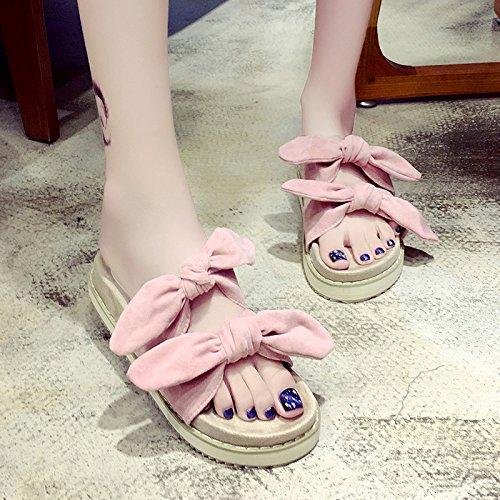 RUGAI-UE Hermana suave Mujer Zapatillas de verano lindo arco inferior grueso desgaste zapatillas zapatos antideslizantes Pink