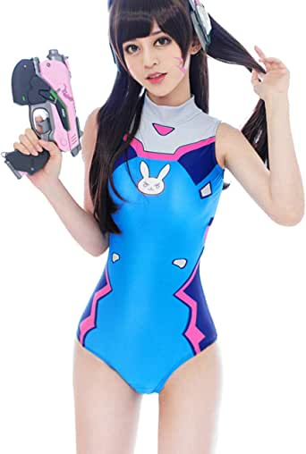 Lucky2Buy Womens DVa Cosplay Costume Schoolgirl One-Piece Swimsuit Slim High Waist Swimwear Bodysuit