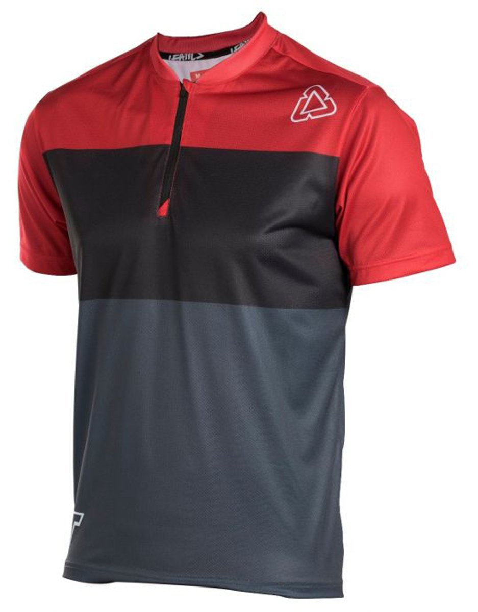 Leatt DBX 1/2 Zip 1.0 XC Adult Bike Sports BMX Jersey - Red/Granite/X-Large