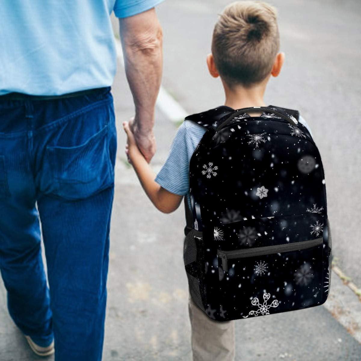 Backpack School Bag Casual Travel Daypack College Bookbag Student Sports Bag Gifts for Men Women Teenage Girl Rucksack Snowflack