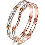 "❄Christmas Gifts❄J.NINA ""London Impression"" Rose-Gold Plated Modern Bracelet with Clear SWAROVSKI Crystals, Dimensional Chain Design Women Bangle"
