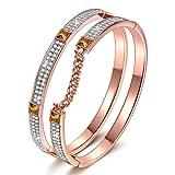 "Amazon Price History for:J.NINA ""London Impression"" Rose-Gold Plated Bracelet with Swarovski Crystals, Dimensional Chain Bangle"