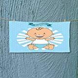 Nalahome Absorbent Towel Baptism Design Happy Boy Christening Striped Dotted Background Christian Religion Theme Soft Cotton Durable L39.4 x W9.8 inch
