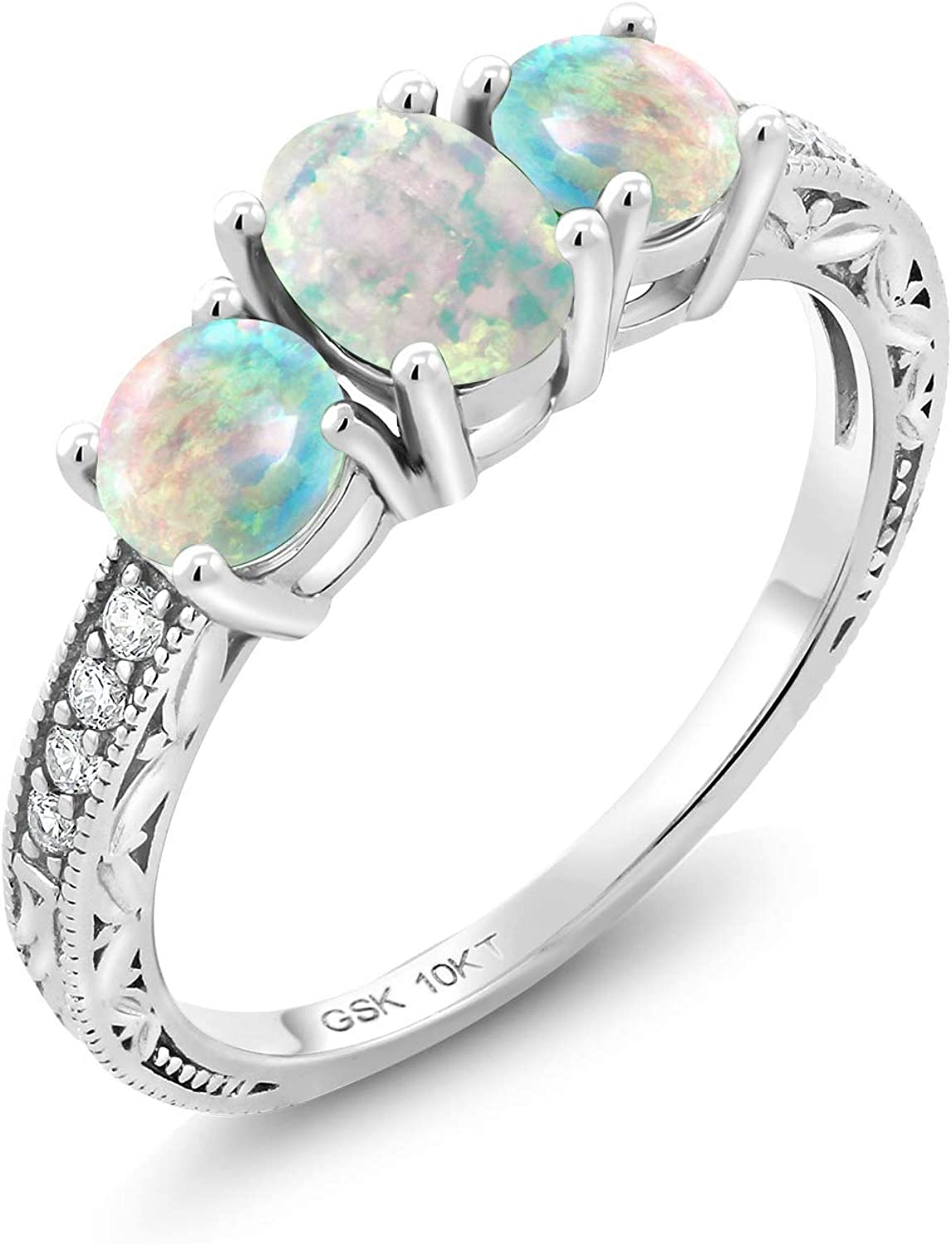 Gem Stone King 10K White Gold White Simulated Opal and Lab Grown Diamond 3 Stone Women Engagement Ring (2.04 Ct Oval Cabochon, Available in size 5, 6, 7, 8, 9)
