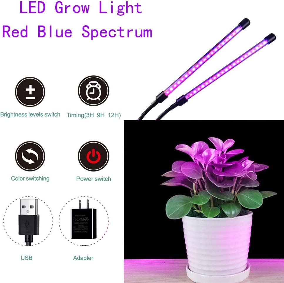 Grow Light, Seedling UV Grow Lights 40 W Dual Head Timing LED Plant Grow Lights with Clip for Indoor Plants with Red Blue Spectrum,Adjustable Gooseneck
