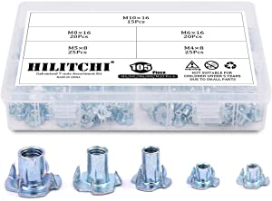 Hilitchi 105-Pcs M4 5 6 8 10 Zinc Plated Steel T Nuts Four Claw Nuts Assortment Kit for Wood Rock Climbing Holds Cabinetry Furniture