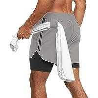 Yageshark Sportshorts voor heren, 2-in-1, korte zomershorts, sneldrogend, loopshorts, gym, trainingsshorts met ritszak