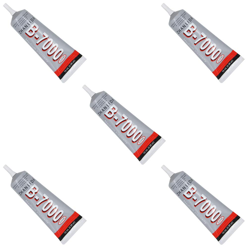 MMOBIEL Pack of 5 B-7000 15 ML Multipurpose High for Industrial Glue Semi Fluid Transparent Adhesive 15 ml 0.51 fl.oz