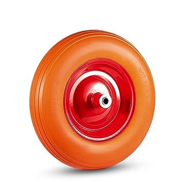 MAXCRAFT Rueda para Carretilla Goma Maciza Neumática PU 4.80/4.00-8 con Eje Repuesto 200 kg - Naranja/Rojo: Amazon.es: Hogar