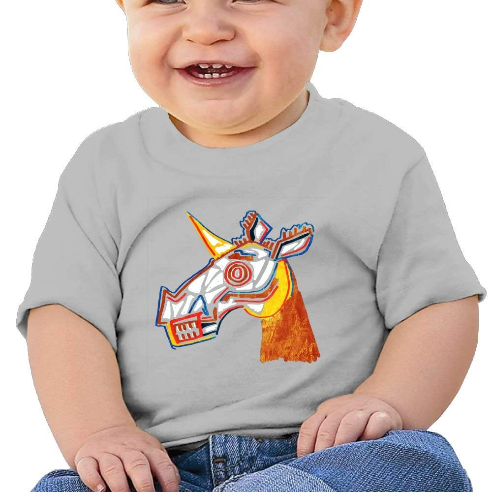 Basquiat Skull Unicorn Washed Cotton Baby Boy Shirt Cute Summer T Shirt Funny